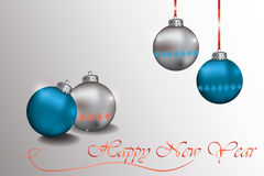 Happy New Year Sparkling baubles with snowflake. Ornament in silver and blue colors. Vector Stock Photo
