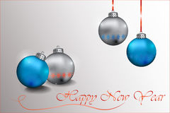 Happy New Year Sparkling baubles. With snowflake ornament in silver and blue colors. Vector Royalty Free Stock Photo