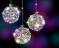 Happy New Year 2015 sparkling colorful ornament. Vector illustration. Black disco background with flare lights. Invitation or greeting card design Royalty Free Stock Images