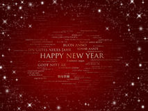 Happy new year sparkling red all languages Stock Photo