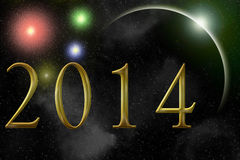 Happy new year 2014 spatial effect Royalty Free Stock Photo