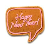 Happy New Year speech bubble, vector Eps10 image. New Year speech bubble gingerbread, vector Eps10 illustration Royalty Free Stock Image
