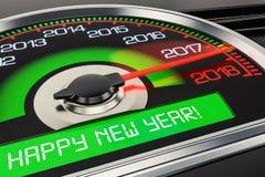 2018 Happy New Year speedometer concept, 3D rendering. 2018 Happy New Year speedometer concept, 3D Royalty Free Stock Photos