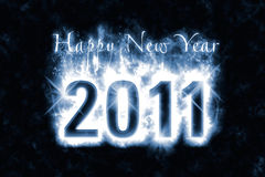 Happy New Year Spell. Happy New Year greeting with effect of magic spell, bluish energy flames wrapping around digits 2011 in the dark Stock Image