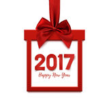 Happy New Year 2017, square banner. Happy New Year 2017, square banner in form of Christmas gift with red ribbon and bow, isolated on winte background. Greeting Royalty Free Stock Photography