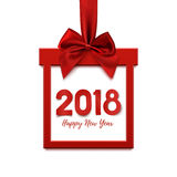 Happy New Year 2018, square banner in form of gift. Royalty Free Stock Image