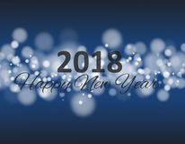 Happy new year 2018 in square with bokeh and lens flare pattern blue background vector. Happy new year 2018 in square with bokeh and lens flare pattern blue stock illustration
