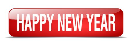 Happy new year button. Happy new year square 3d realistic isolated glass web button. happy new year stock illustration