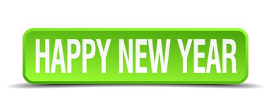 Happy new year button. Happy new year square 3d realistic isolated web button. happy new year stock illustration