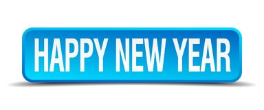 Happy new year button. Happy new year square 3d realistic isolated web button. happy new year royalty free illustration