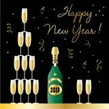 Happy new year stacked champagne glasses Royalty Free Stock Photo