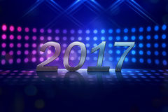 Happy New Year 2017. On stage spot lighting background Stock Images