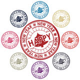 Happy new year stamp Royalty Free Stock Photo
