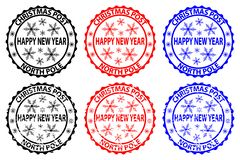 Happy new year stamp. Happy new year, Christmas Post - North Pole - rubber stamp, sticker - vector, black, red, blue royalty free illustration