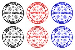 Happy new year stamp. Happy new year, Christmas Post - North Pole - rubber stamp - sticker - vector - black, red, blue stock illustration