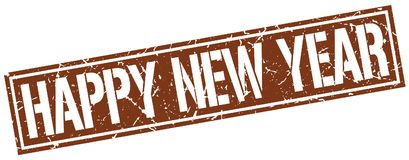 Happy new year stamp. Happy new year square grunge sign isolated on white. happy new year vector illustration