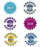Happy New Year Stamp. Set with 6 icons isolated on white,vector design stock illustration