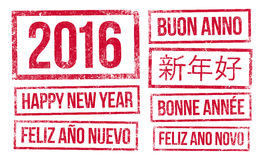 Happy New Year and 2016 in stamps ink Stock Photography