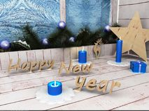 Happy New Year Star. Christmas decorations, preparing for the holiday. Fun Stock Photos