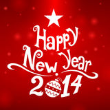 Happy New Year Star. Red background, balls vector illustration