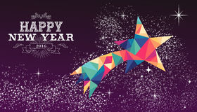 Happy new year 2016 star triangle hipster color. Happy new year 2016 holiday greeting card or poster design with colorful triangle shooting star and label Royalty Free Stock Photos