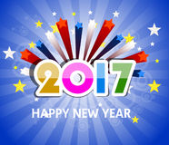 Happy new year 2017  with star. Happy new year 2017 vector Royalty Free Stock Photography