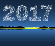 Happy New Year 2017 starburst dawn. Royalty Free Stock Photography