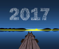 Happy New Year 2017 starburst dawn. Christmas vector illustration background starry sky Royalty Free Stock Image