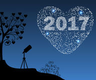 Happy New Year 2017 starburst heart. Christmas vector illustration background starry sky Stock Image