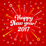 Happy New year 2017 Starburst Red. Happy New Year Card with Starburst. Vector illustration Royalty Free Stock Images