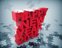 2016 happy new year with stars. 3d concept design Royalty Free Stock Images