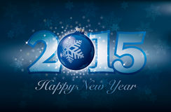 Happy New Year with stars and snow. And a christmas ball stock illustration