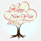 Happy New Year 2015. Stars tree background vector illustration