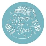 Happy new year sticker or banner. Vector illustration. Happy new year sticker or banner stock illustration