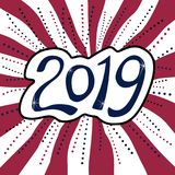 Happy New Year 2019 sticker on striped background. royalty free stock images