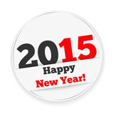 Happy New Year 2015 Sticker. Happy new year 2015 white sticker with shadows Stock Image