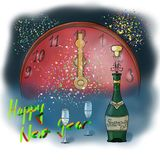 Happy New Year. Still life on the theme of New Year celebrations, a midnight toast Stock Image