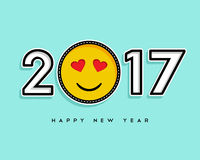 Happy New Year 2017 stitch patch icon card design Royalty Free Stock Photos