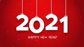 Happy New Year 2021 string red background