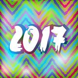 Happy New 2017 Year on striped pattern. Vector Royalty Free Stock Photos
