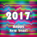 Happy New 2017 Year on striped, zigzag pattern. Stock Photography
