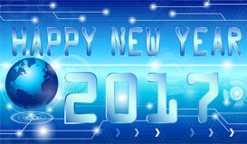 Happy new year 2017. Style technology background Royalty Free Stock Photos