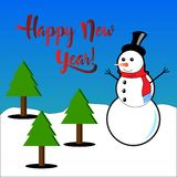 Happy New Year subtitles with snowman and pine trees.  Stock Photos
