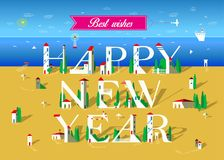 Happy New Year. Summer beach. Happy New Year. Inscription by artistic font. Letters are as white buildings with trees. Plane in the sky with pink banner and text royalty free illustration