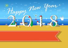 Happy New Year 2018. Summer beach. Happy New Year 2018. White text with plane in the sky. Number is a white buieldings on the beach. Yellow and blue background royalty free illustration