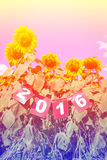 Happy new year 2016 on sunflower field, welcome 2016 Stock Photography