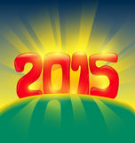 Happy new year 2015 sunshine. Happy new year 2015 with sunshine over the mountain vector illustration