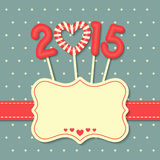 Happy new year 2015. Year 2015 sweet candy with frame and ribbon on dot background stock illustration