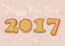 Happy New Year 2017. Sweet cookies font stock photography