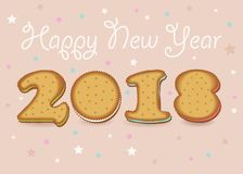 Happy New Year 2018. Sweet cookies font royalty free stock images